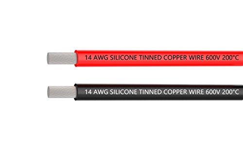 TUOFENG 14 AWG Silicone Wire 20 Feet red black wire - 14 Gauge Silicone Wire Hook Up wire Cable - Flexible Silicone Wire of Tinned copper wire High Temperature Resistant (14 Gauge Wire Diameter)