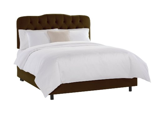 Skyline Furniture Brown Tufted Bed - Skyline Furniture Surrey Queen Tufted Bed, Chocolate Velvet