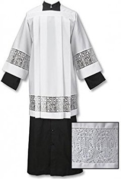 Catholic Factory Outlet Box Pleated Lace Surplice (Medium (Back Length 38'') (Sleeve Length 28'') (Height 5ft9-6ft)),White ()