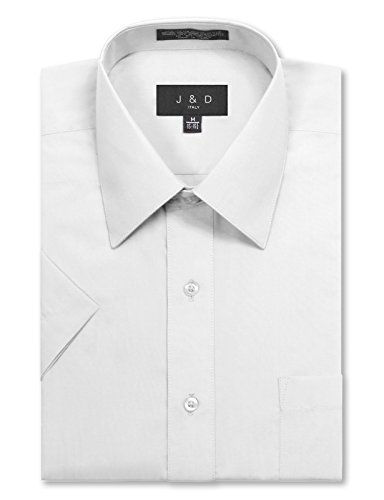 JD Apparel Men's Regular Fit Short Sleeve Dress Shirts 17-17.5N X-Large White by JD Apparel