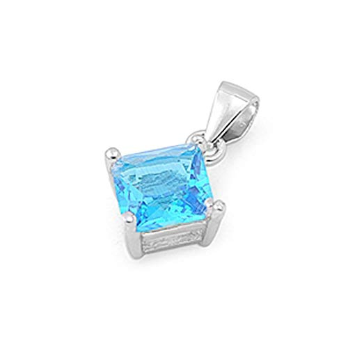 - Solitaire Square Pendant Blue Simulated Topaz .925 Sterling Silver Charm Jewelry Making Supply Pendant Bracelet DIY Crafting by Wholesale Charms