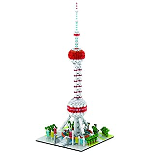 dOvOb Micro Blocks Shanghai Oriental Pearl Tower Building Set, 1412 Piece Mini Bricks Toys for Kids and Adult