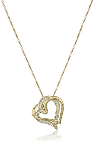 18K Yellow Gold over Sterling Silver Diamond Double Heart Pendant Necklace (1/10 cttw), ()