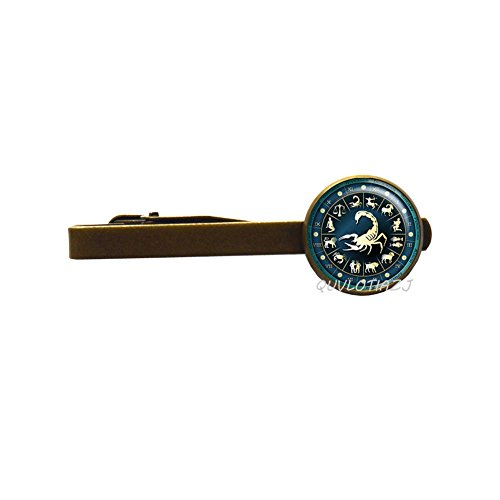 QUVLOTIAZJ Scorpio Blue Wheel Zodiac Tie Clip Pin Birthday Gift