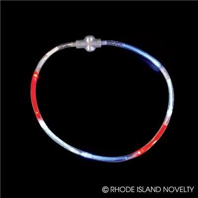 Flashing Red, White, Blue Necklace, 22