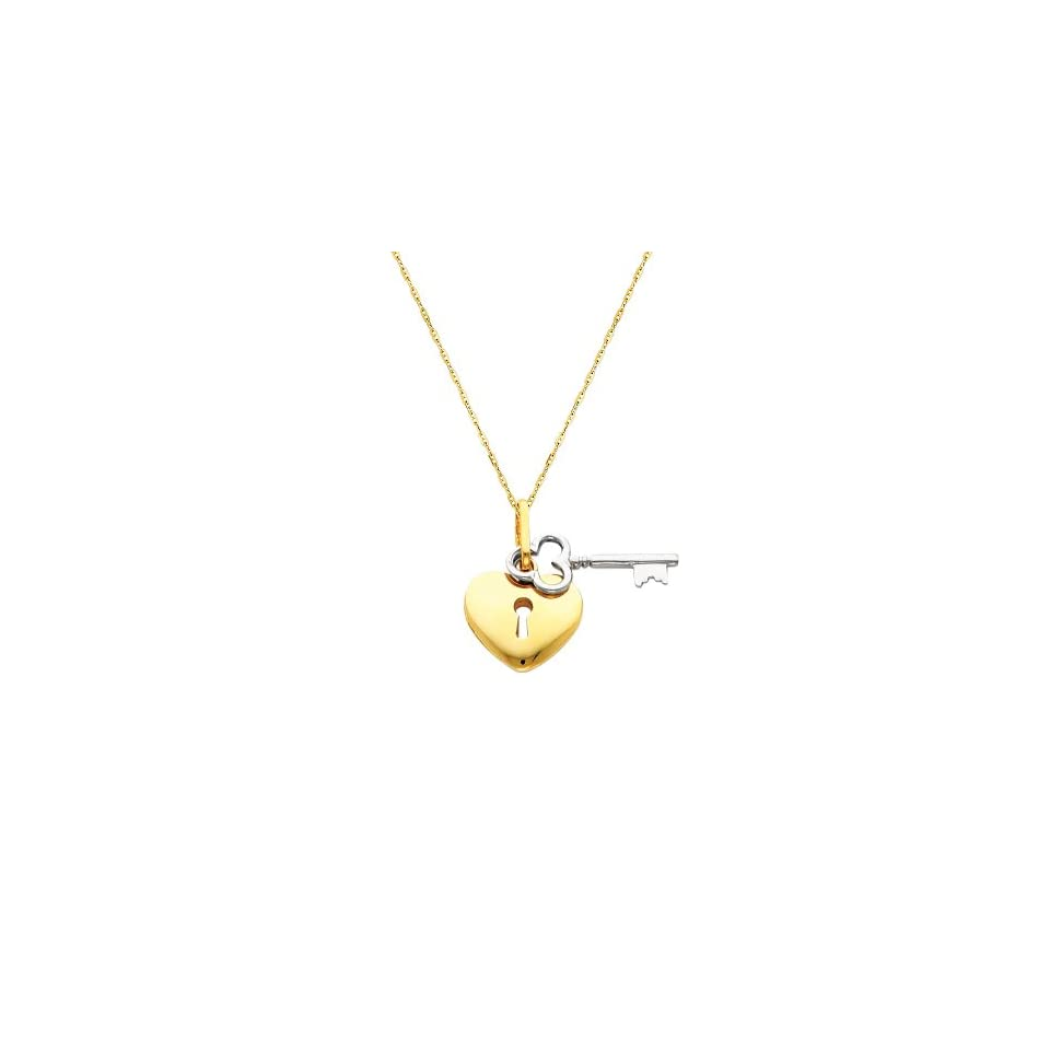 """14K Yellow and white Two Tone Gold Key to My Heart Charm Pendant with 1.0mm Anchor Link Mariner Chain Necklace Set   18"""" Inches The World Jewelry Center Jewelry"""