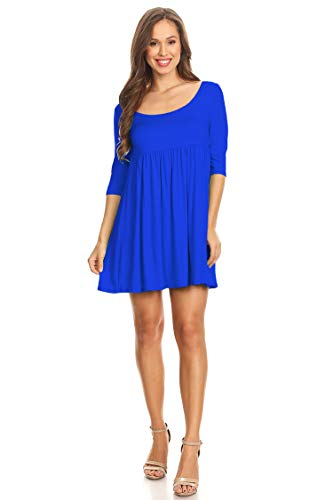 (Solid Casual Round Neck Tunic Top Midi Dress/Made in USA Royal Blue L )