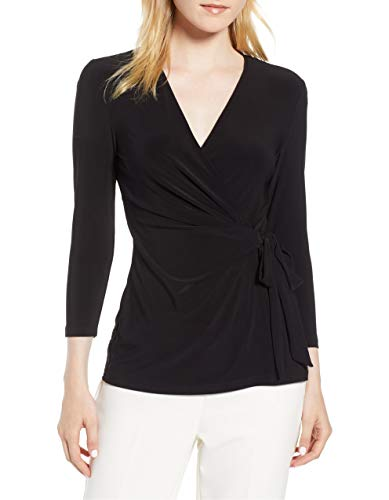 May&Maya Women's Faux Wrap Jersey Top Shirt Blouse Tee (Black, XL)