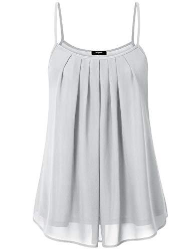 Lotusmile Summer Tank Tops Sleeveless, Womens Soft Chiffon Casual Lightweight Layered Camisole, Light Grey M ()