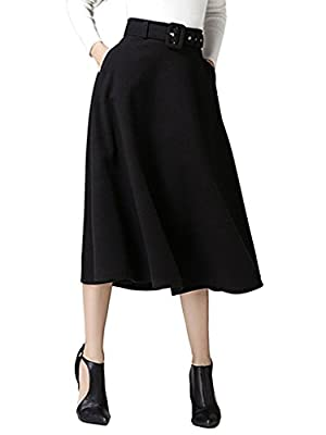 CHARLES RICHARDS CR Women's High Waist A-line Flared Long Skirt Winter Fall Midi Skirt