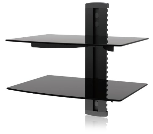 Ematic 2 Tempered Glass Shelf Wall Mount for Entertainment System (Gaming Shelf)
