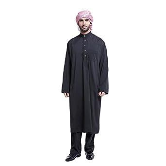 Cocohot Muslim Men's National Costume Arab Men's Robes Muslim Dress Islamic Robes Abaya