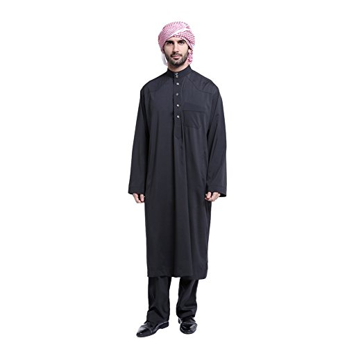 Cocohot Muslim Men's National Costume Arab Men's Robes Muslim Dress Islamic Robes Abaya