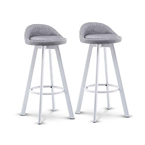 Akang Counter Height Bar Stool, Metal Swivel High Stool/Set of 2/ with Back/Modern Style (Color : Gray)
