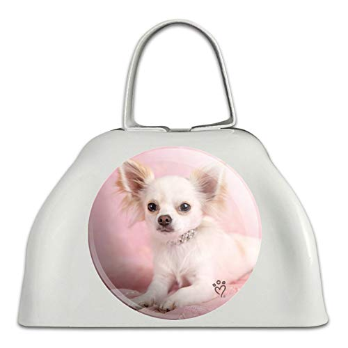 Chihuahua Puppy Dog Sitting in Pink White Metal Cowbell Cow Bell Instrument ()