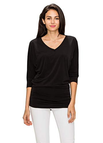MBJ Womens ITY V-Neck 3/4 Sleeve Drape Top with Side Shirring Dolman - Made in USA XL Black