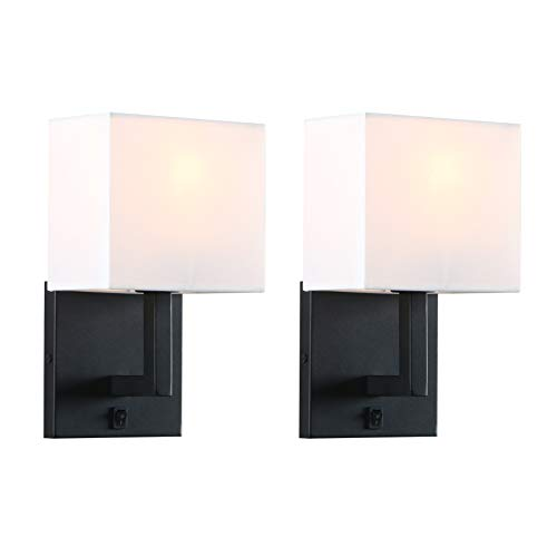 Permo Set of 2 Single Wall Sconce Light Fixture with White Textile Shades and On/Off Switch Button Small Modern Nightstand Lamps for Bedrooms Bedside Reading (Black)
