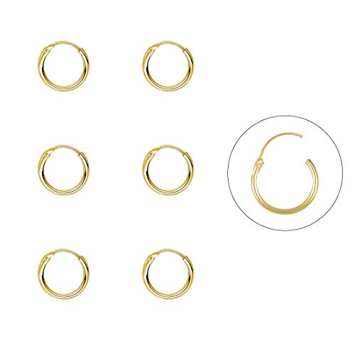 Silver Hoop Earrings- Cartilage Earring Endless Small Hoop Earrings Set for Women Men Girls,3 Pairs of Hypoallergenic Sterling Silver Tragus Earrings Nose Lip Ring(8/10/12mm) (3 Pairs(8mm3)-Gold)