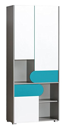 Jugendzimmer   Drehtürenschrank / Kleiderschrank Klemens 02, Farbe: Blau /  Weiß / Grau