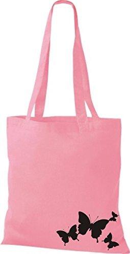 shirtinstyle Bolsa de tela bolsa de Algodón Divertido Animales Mariposa Rosa