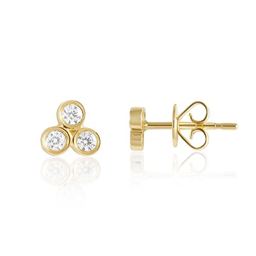 Diamond Stud Earring, 3-Stone Triangle in 14K Gold - Fine Jewelry by Juliette Collection ()