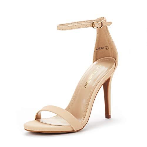 DREAM PAIRS Women's Karrie Nude Nubuck High Stiletto Pump Heel Sandals Size 9 B(M) US