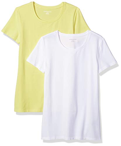 Amazon Essentials Women's 2-Pack Classic-Fit Short-Sleeve Crewneck T-Shirt, Yellow/White, X-Large