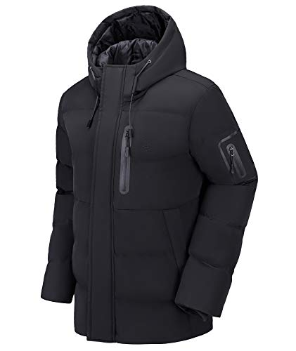 CAMEL Men Puffer Jacket with Hooded Parkas Thicken Padded Jacket Windproof Outdoor for Winter Coat