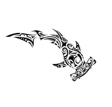 - Tribal Hammerhead Shark Vinyl Decal Sticker (Black)