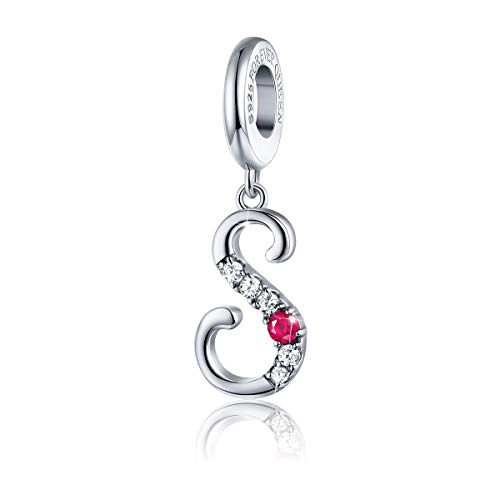 (FOREVER QUEEN 925 Sterling Silver S Letter Initial Dangle Beads Charm Red Zircon Alphabet Pendants for Snake Chain Bracelets Necklace Gift Jewelry for Mother)
