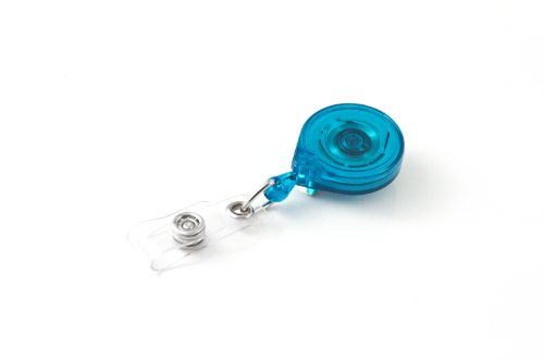 "KEY-BAK MINI-BAK Retractable Badge Holder with 36"" Nylon Cord, Steel Belt Clip, Translucent Teal, USA Made"