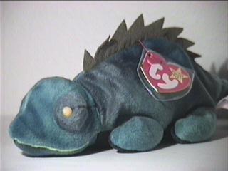 TY Beanie Baby - IGGY the Iguana (dark fabric w/ spikes) (Iggy Beanie Baby)