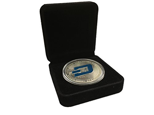 Dash Coin Commemorative Collector's Set | Dash Coin Silver Plated with Showcase Box and Plastic Round Display Case Set | Perfect Gift for Crypto Enthusiast | Bitcoin Ethereum Miner | HODL Tokens