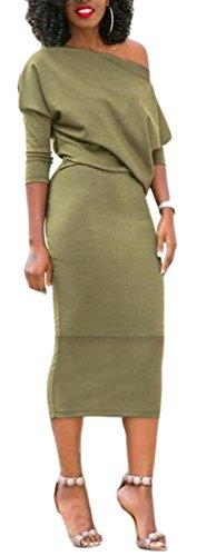 Femmes Cromoncent Solide Sexy Épaule Oblique Manches Demi Partie Crayon Moulante Robe Verte