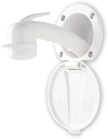 Ambassador Marine Plastic Lid//Cup Recessed Shower Kit with No Hook Small White Sprayer and 10-Feet White Rubber Hose
