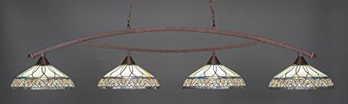 (Toltec Lighting 874-BRZ-948 Bow - Four Light Billiard, Bronze Finish with Royal Merlot Tiffany Glass)