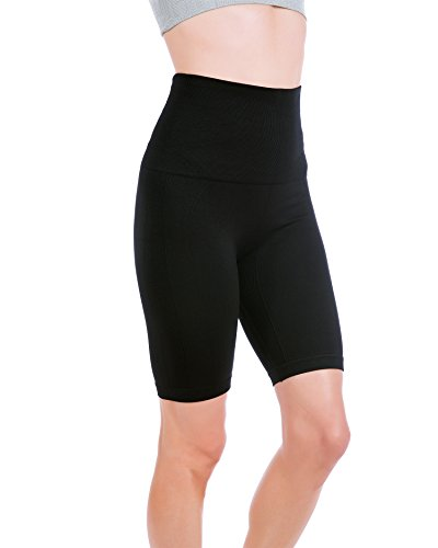 (Homma Women's Tummy Control Fitness Workout Running Yoga Shorts (Large, Black))