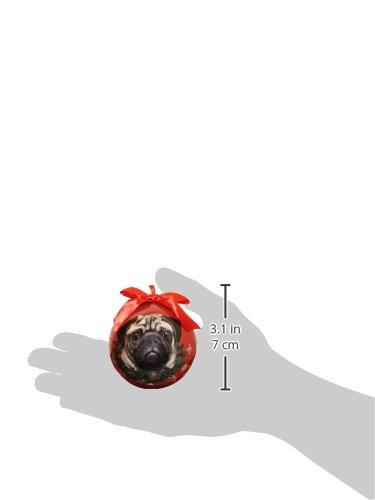 Pug Christmas Ornament Shatter Proof Ball Easy To Personalize A Perfect Gift For Pug Lovers by E&S Pets (Image #1)