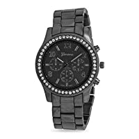 Gunmetal Tone Fashion Watch with Clear Crystals Gunmetal tone base metal fashion watch. The band is approximately 17mm wide. The case is approximately 37mm. Bezel set clear crystals surround the watch face. The watch has 3 decorative, non-functioning dial