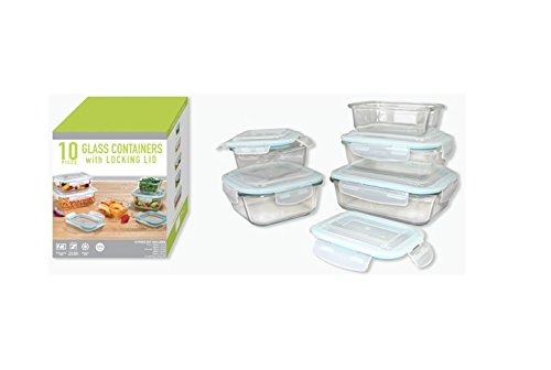 - Gourmet Home Products 10 Piece Glass Container Food Storage Set with Locking Lids, Clear