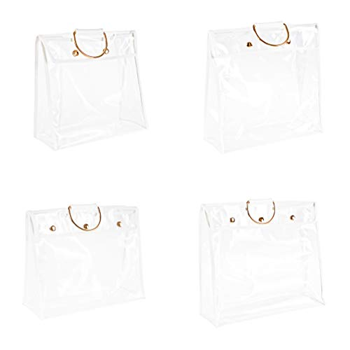 SYROVIA Transparent Dust Bag Clear Purse Organizer Dustproof Handbag Holder with Magnetic Snap & Hanging Ring Pack of 4