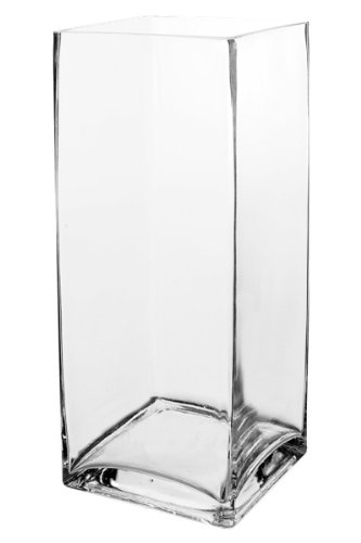Koyal Wholesale 404348 12 Pack Tall Square Glass Vases 4 By 12 Inch