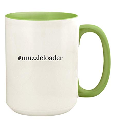 #muzzleloader - 15oz Hashtag Ceramic Colored Handle and Inside Coffee Mug Cup, Light -