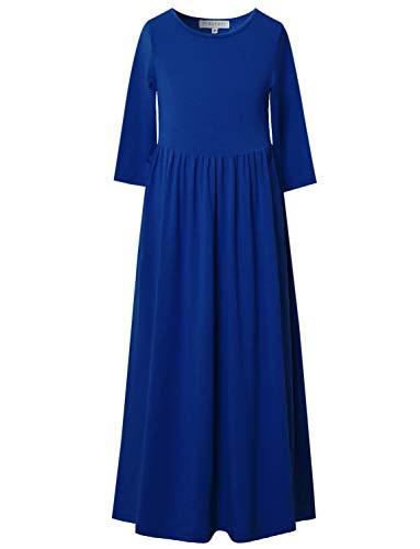 Perfashion Maxi Dress Girls 3/4 Sleeve Pleated Casual Print Boho Floral Cotton Beach Long Dress Pockets