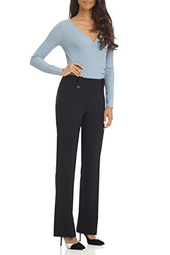 Rekucci Women's Smart Desk to Dinner Stretch Bootcut Pant w/ Tummy Control - Inch 18 Rise