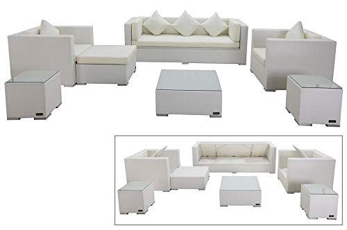 OUTFLEXX Exklusives XL Lounge-Set aus hochwertigem Polyrattan in weiß, 3-Sitzersofa, 2 Sessel, 1 Hocker, inkl. Kissenpolster, 2 kleine Beistelltische, 1 Kaffeetisch, Kissenboxfunktion, wetterfest,