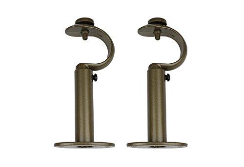 Gold Wall Bracket (Urbanest Zinc Curtain Drapery Rod Adjustable Bracket, Fits 1 1/8