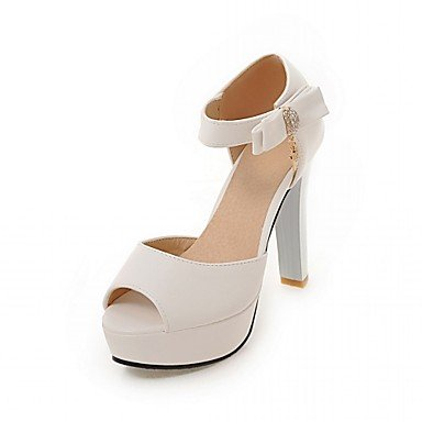 RTRY Tacones Mujer Verano Otoño Comfort Novedad Charol Sintético Pu Oficina Boda &Amp; Carrera Paseos Ocasionales Chunky Heel Lace-Upred Beige US9 / EU40 / UK7 / CN41