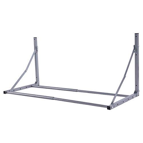 Goplus Tire Rack Wall Mount Folding Adjustable Wheel Storage Heavy Duty Steel 300 lb Capacity Holder (Silver)
