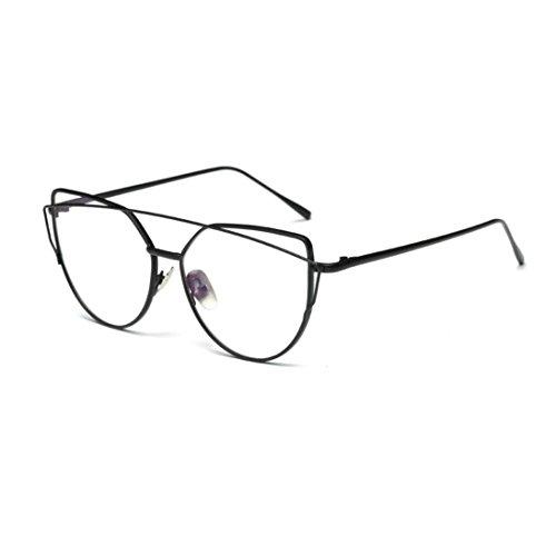 Frame Eyeglass Alloy (DDLbiz Fashion Twin-Beams Classic Women Metal Frame Mirror Sunglasses Cat Eye Glasses (Black))
